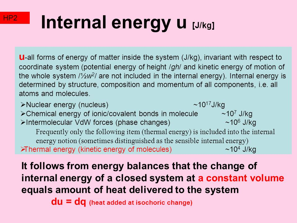 Internal energy u [J/kg]